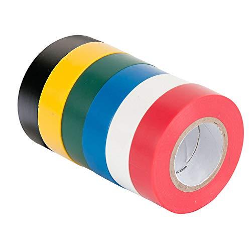 Isolierband, 6 Stück Selbstklebend PVC Dichtband, 16mm × 15m Farbig Gafferband für Verkabelungsprojekte und Reparaturen