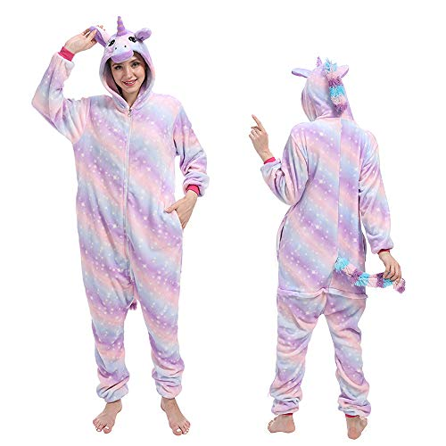 One Piece Anime Cosplay Costume Cartoon Animal Onesie Pajamas Gifts for Women,Bright Purple Galaxy Unicorn S