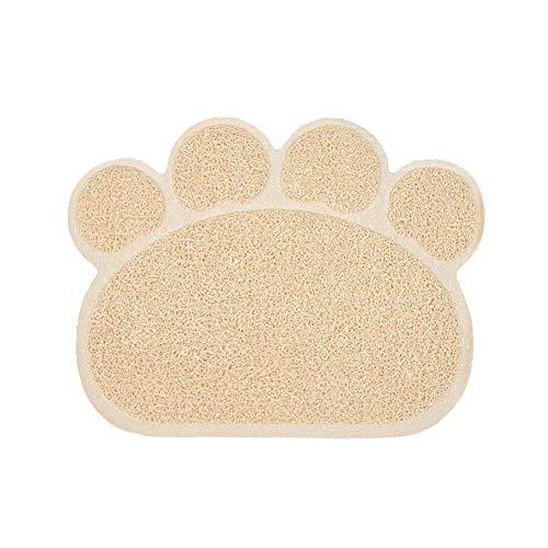 Ptom - Tappetino per lettiera per cani e gatti, in PVC, antiscivolo, impermeabile, colore: beige