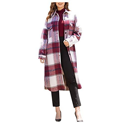 TYTUOO Moda de las mujeres Autunm Invierno Casual Outwear Plaid Long Jacket Manga Larga Solapa Cárdigan Solo Breasted Camisa Larga Abrigo, A-vino, XXL