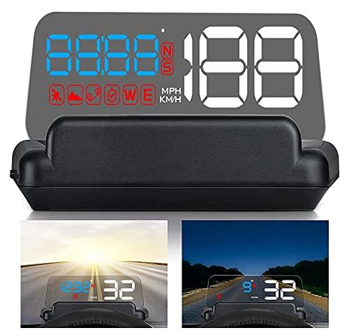 """5,5""""HD Universal Car HUD Head Up Display GPS digitale Tachimetro Proiettore per parabrezza con allarme velocità MPH Allarme tensione Direzione distanza per tutte le auto Camion Moto Golf Cart"""