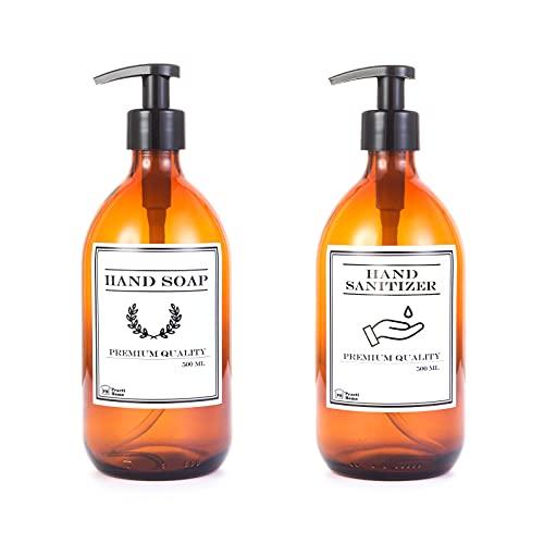 Dispensador de Jabón de Cristal Ambar Botella Vidrio con Dosificador de Jabón 500 ml (Ambar, Hand Soap & Hand SANITIZER)