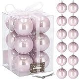 SPRINGOS Lot de 12 boules de Noël artificielles - Rose perle - Ø 6 cm - Incassables - Décoration de Noël