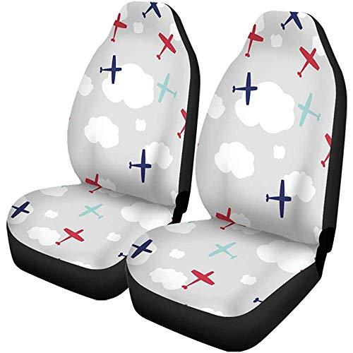 2 stuks autostoelhoezen blauw patroon baby boy vliegtuig schattige Airplane Travel Air Seats Protector geschikt voor auto, SUV limousine, vrachtwagen