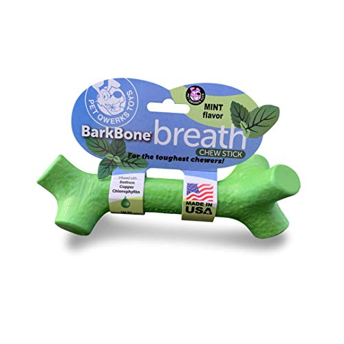 Pet Qwerks Barkbone Mint Dental Breath Stick Dog Chew Toy - Durable Dog Bones for Aggressive Chewers, Tough Power Chew Toys | Made in USA- Large for Medium Dogs