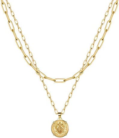 Gold Link Choker Necklaces for Women 14K Gold Coin Chain Set Link Chain Necklace Set Link Chain product image