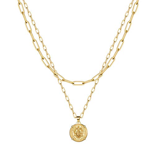 IEFSHINY Gold Layered Chain Necklaces for Women, Dainty 14K Gold Plated Medallion Coin Pendant Necklaces Paperclip Chain Oval Link Choker Layering Necklaces Set for Women Teen Girl Jewelry Gifts