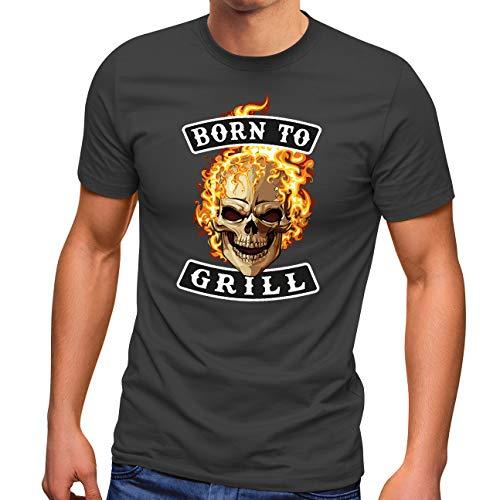 MoonWorks® Herren T-Shirt Grillen mit Spruch Born to Grill Skull Flammen Fun-Shirt Grill-Geschenk Männer anthrazit L