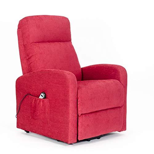 POLTRONE ITALIA - Poltrona Relax alzapersona elettrica Seduta micromolle assemblata Poltrona reclinabile Anziani Prezzi IVA4% OBBLIGO Doc Legge 104 - Poltrona-Chanel-1M-I4-TARED Rosso antimacchia