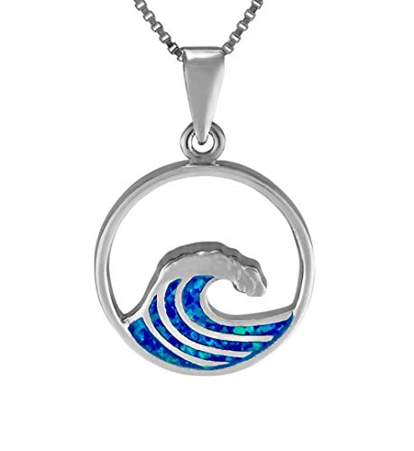 Aloha Jewelry Company Sterling Silver Created Blue Opal Wave Neckalce Pendant with 18' Box Chain
