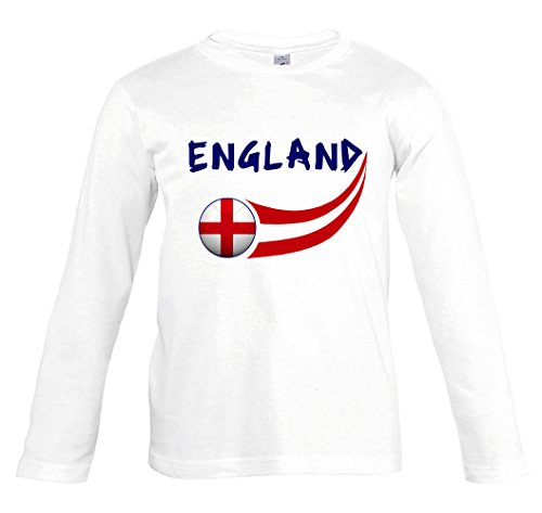 Supportershop–Camiseta fútbol Inglaterra Blanco L/S niño, T-Shirt Angleterre Blanc L/S Enfant, Blanco,...