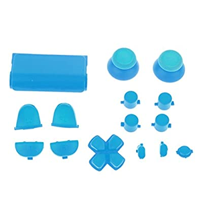 MagiDeal L2 R2 L1 R1 Thumbstick Joystick D-pad Anolog Cap Button Mod Game Set Bullet Kit for Sony PS4 Controller Blue from MagiDeal