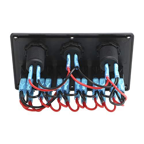 LIANGJIN 5/6 Panel de interruptores de Rocker Gang with Fuse 4.2A Dual USB Slot Socket Pantalla de Voltaje Digital Ajuste para camión de Coche Marino Impermeable (Color : 5 Gang Rocker Blue)