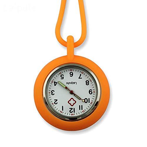 HYY-YY. Krankenschwester-Uhr-Brosche Krankenschwester-Uhr-Silikon-Tunika Medizinische Krankenschwester-Taschen-Uhr-Bewegung Sporter-Taschen-Uhr (Farbe: blau) (Color : Orange)