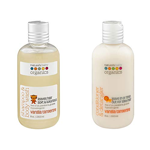 Nature's Baby Organics Baby Shampoo And Conditioner Combo Pack, Moisturizing Tear Free Baby Shampoo 8 oz and Conditioner 8 Oz, Organic Ingredients, No Sulfate or Paraben, Vanilla Tangerine, 2 Pack