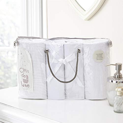 Clair de Lune–Set de regalo de 4piezas ropa de cama Bale, Moisés Cesta, color blanco