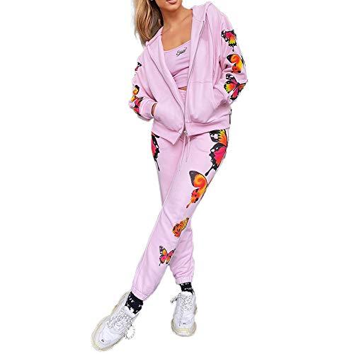 Carolilly Chándal de mujer deportivo con impresión de mariposa, sudadera con capucha de manga larga con cremallera + pantalones de deporte para mujer amplio de 2 piezas Rosa Top+Pantalones XXL