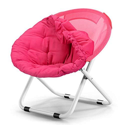 LSF Mobiler Mondstuhl Fauler Klappstuhl Tragbare zusammenklappbarer Moon Chair Angeln Camping Grill Hocker Folding Erweiterte Wandern Sitz Garten Ultra Office Home Möbel (Color : Pink)