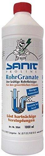 SANIT - RohrGranate flüssig - 1000ml-Flasche - der kräftige Rohrreiniger für harte Fälle
