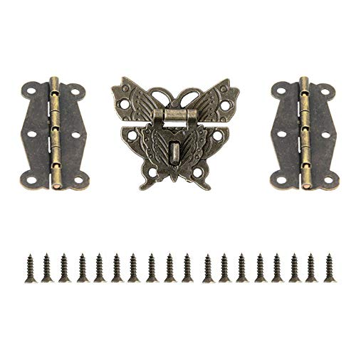 JINXM Mini Bisagras de Cierre con Hebilla de Cierre de Diseño Retro con Tornillos para Joyas Cajones Armarios Muebles Accesorios de Madera