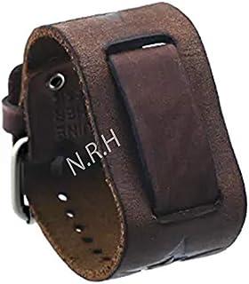 Nautical Replica Hub Bracelet de montre large en cuir marron avec motif étoile