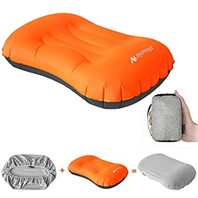 AYAMAYA Camping Backpacking Pillow with Cover, Ultralight Inflatable Travel Pillows - Compressible Lightweight Ergonomic Neck & Lumbar Support for Mom Dad to Camp Sleeping Airplane
