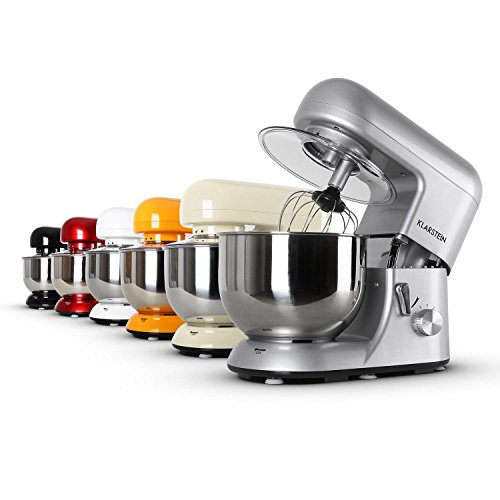 Klarstein Bella Argentea Küchenmaschine Rührgerät (1200 Watt, 5,2 Liter-Rührschüssel, 6-stufige Geschwindigkeit) silber - 9