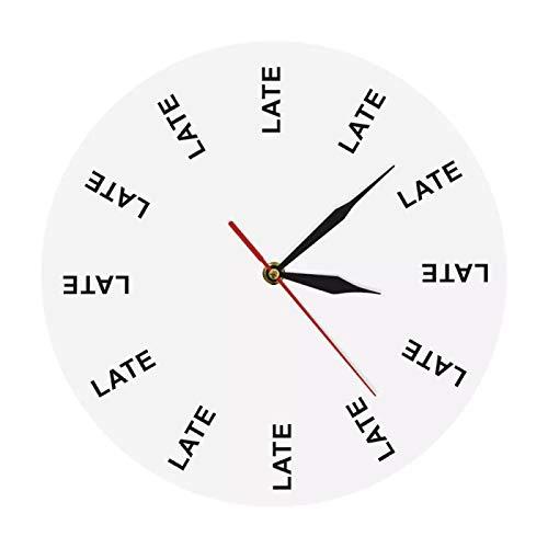 yage Reloj de Pared tardío Momentos infinitos Reloj de Pared intemporal Divertido Broma de Oficina Entretenido Persona tardía Recordar Hombre procrastinado Regalo