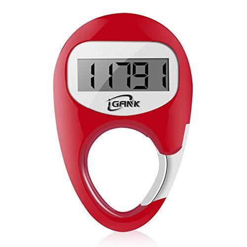 iGANK Simple Walking Pedometer Step Counter for Men Women Kids (Red)