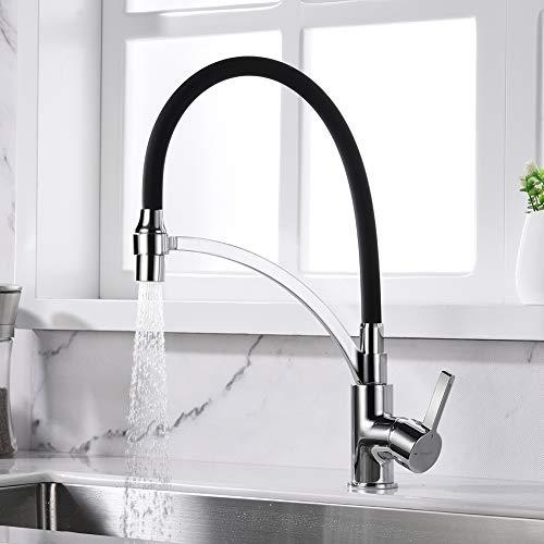 Ibergrif-M22129-2 Eengreeps wastafelarmatuur met draaibare sproeikop en 2 functies, keukenkraan met handdouche en flexibele uitloop, zwart