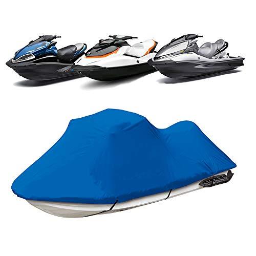 Funda de Lancha Motora, 210D Impermeable Oxford UV Protección Jet Ski Cover, Se Adapta a Motos de Agua 136   a 145  ,Azul