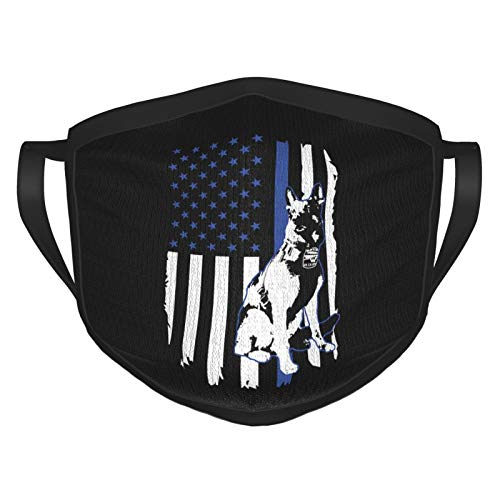 Adjustable Police K-9 Thin Blue Line USA Flag Face Cover Breathable Face Mask for Man's Woman