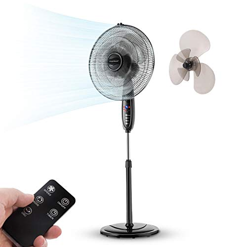 "Aigostar Lewis - 16"" Standing Fan, Double Blade Electronic Oscillating Pedestal Fans with Remote Control, Pedestal Floor Fan for Whole-Room Cooling, 3-Mode &3-Speed & 7.5H Timer, Black"