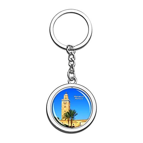 Hqiyaols Keychain Marokko Koutoubia Moschee Marrakesch Kristall Drehen Rostfreier Stahl Schlüsselbund Reisen Stadt Andenken Schlüsselring