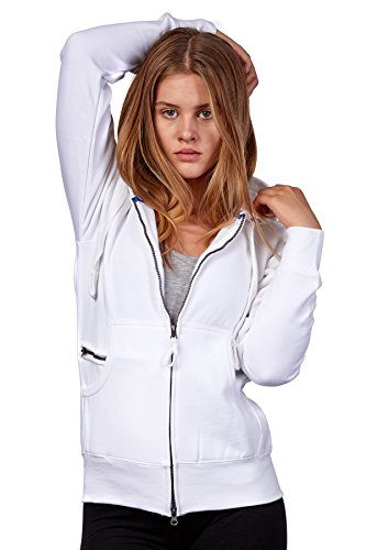 Happy Clothing Damen Sweatjacke mit Kapuze Zip Hoodie Kapuzenjacke Basic Einfarbig S M L, Größe:M, Farbe:Weiß
