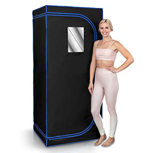 Serenelife Portable Full Size Infrared Home Spa| One Person Sauna | with Heating Foot Pad and Portable Chair