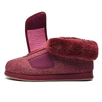 RTY Women Men Adjustable Velcro Swollen Feet Slipper Diabetic Oedema Boot Extra Wide Shoes Elderly Unisex Large,Red,41