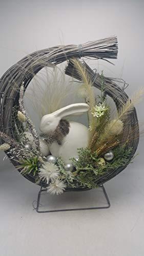 Seidenblumengesteck Osterdeko Ostergesteck Hase Eier Federn weiß natur