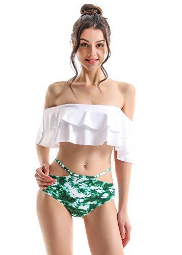 COCOPEAR Women's Two Piece Off Shoulder Swimsuit Boho Flounce Falbala Bikini Set (FBA) Green Leopard S/2-4