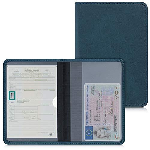 kwmobile Custodia in pelle PU per Libretto Circolazione Auto - Cover Portalibretto con Scomparti per Tessere Patente - Foderina Porta Documenti petrolio