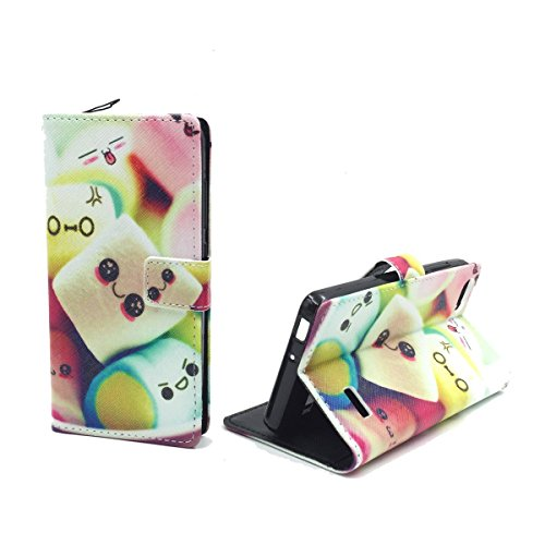König Design Handyhülle Kompatibel mit Huawei G Play Mini/Honor 4C Handytasche Schutzhülle Tasche Flip Hülle mit Kreditkartenfächern - Marshmallows