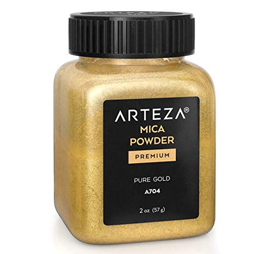 Arteza Mica Powder for Epoxy Resin, Pure Gold A704, 2 oz Bottle, for Soap Making, Nail Polish, Bath Bombs, Candle & Slime Making