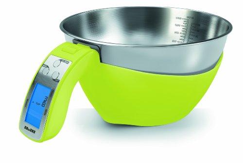 Ibili Digitale keukenweegschaal met kom 5 kg, roestvrij staal, groen/zilver, 28 x 28 x 13 cm, 2 stuks