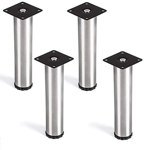 4er Set Lukas Möbelfuß Ø 42 mm höhenverstellbare Tischfüße Edelstahl Höhe 200 mm von SO-TECH