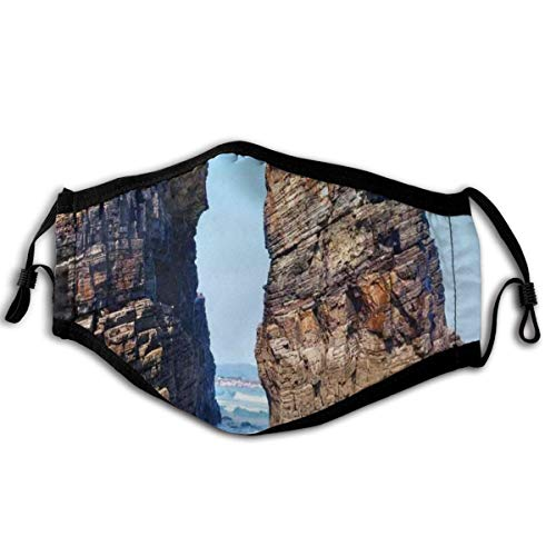 Comfortable Windproof mask,Old Rocky Stone Arches On Spanish Seacoast Summer Light Nature Scenery De Mediterranean,Printed Facial decorations for adult