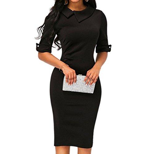 MRULIC Frauen Retro Bodycon unter dem Knie Formale Büro Kleid Pencil Kleid mit Rücken Reißverschluss Geschäftskleidung Kleid(Schwarz,EU-38/CN-S)