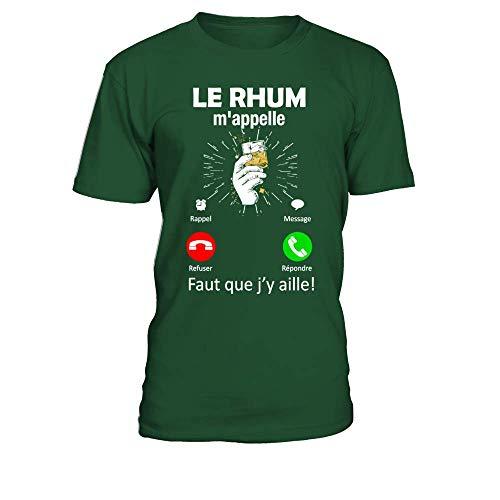 TEEZILY T-Shirt Homme Alcool Humour Le Rhum mappelle, Faut Que jy aille - Vert Bouteille - L