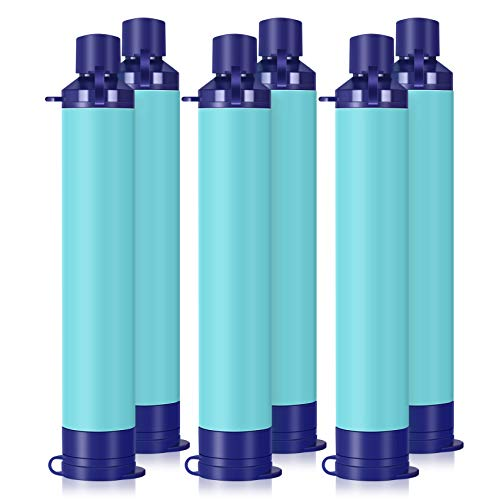 Membrane Solutions Straw Water Filter,Survival Filtration Portable Gear,Emergency Preparedness,Supply for Drinking Hiking Camping Travel Hunting Fishing Team Family Outing (6Pack)