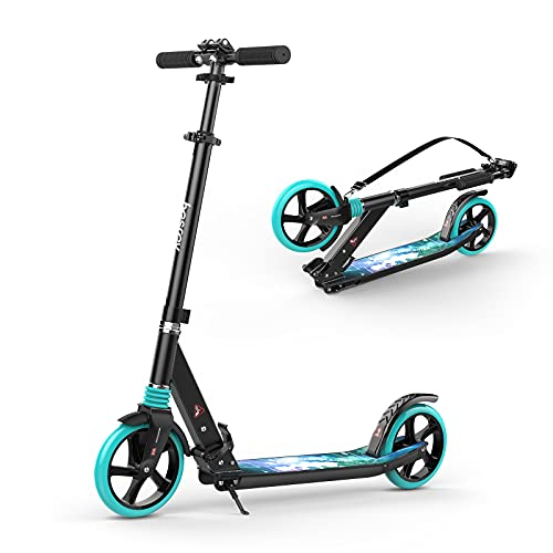 """besrey Kick Scooters for Kids 8 Years and up-Teen and Adult Scooter 8"""" Big Wheels-Foldable Kick Scooters up to 220 Lbs-4 Levels Height Adjustment with Carry Strap"""