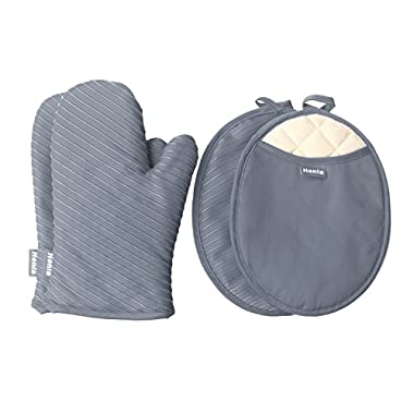 Honla Pot Holders and Oven Mitts/Gloves With Silicone Printed - 2 Hot Pads and 2 Potholders Set,4-Piece Heat Resistant Kitchen Linens Set for Cooking,Baking,Grilling,Barbecue,Gray
